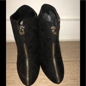 Zara black Faux Suede W/ Gold Zipper Detail Bootie